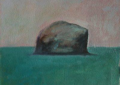 Claire Beattie, Bass Rock Jewel Sea, oil on paper, 15x15cms, 2020