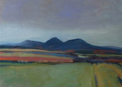 Claire Beattie, Big Sky Over the Eildon Hills, oil on canvas, 50x50cms, 2020