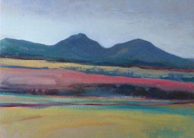 Claire Beattie, Brightness Towards the Eildon Hills, oil on canvas, 50x50cms, 2020