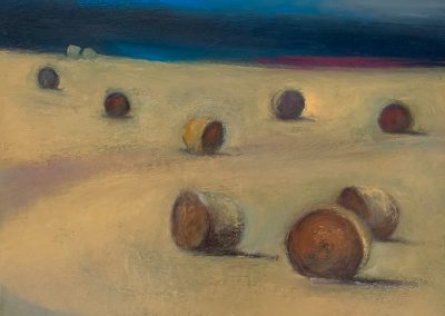 Claire Beattie, Field of Gold, oil on canvas, 24x30cms, 2020