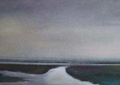 Claire Beattie, Low Tide - Holy Island, oil on canvas, 60x30cms, 2020
