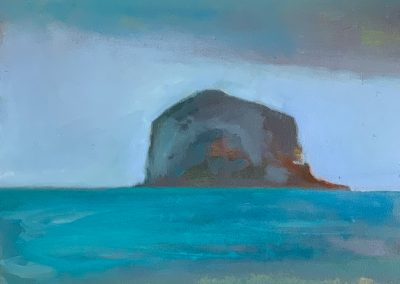 Claire Beattie, Winter Skies over the Bass Rock, oil on paper, 15x15cms, 2020