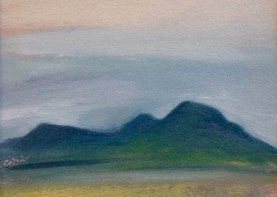Claire Beattie, Summer Eildons, oil on paper, 15x15cms, 2018