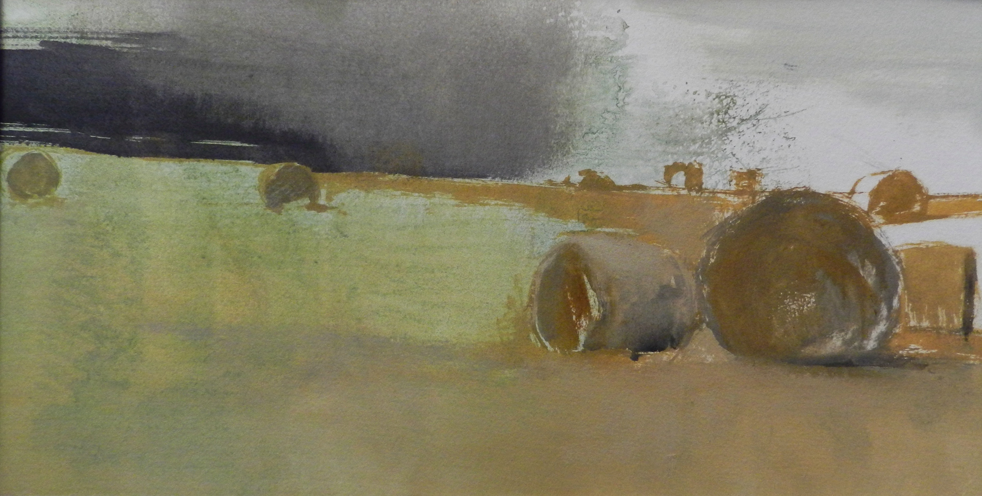 Claire Beattie, Hay Field and Stormy Sky, oil on paper, 24x30cms, 2016