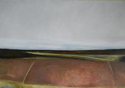 Claire Beattie, Over the Lammermuirs, oil on paper, 100x50cms, 2015