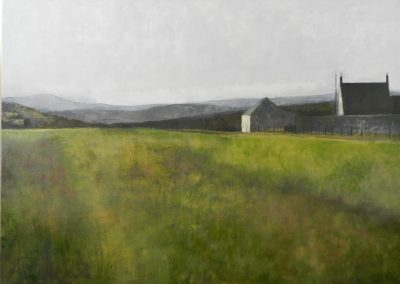 Claire Beattie, Early Light Towards the Cheviots, oil on canvas, 107x86cms, 2014