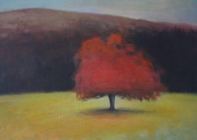 Claire Beattie, Hill, Tree and the Curve of the Field, oil on canvas, 40x60cms, 2021