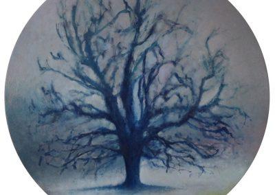 Claire Beattie, Solace, oil on circular canvas, 100 cms diameter, 2021