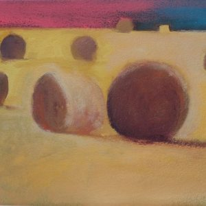 Claire Beattie, Hay Bales Study with Pink, 20 x 15 cms, oil on paper, 2020
