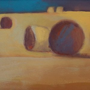 Claire Beattie, Hay Bales Study with Teal, 20 x 15 cms, oil on paper, 2020
