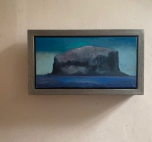 The Approach painting of the Bass Rock seen in its frame